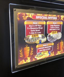 LED A2 Crystal Frame Illuminated Back-lit Menu Poster Display Shops RestaurantsLED A2 Crystal Frame Illuminated Backlit Menu Poster-1