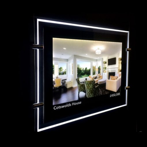 LED Window Light Pocket Illuminated Light Panel Estate Agent Display A4 with Print
