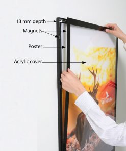 LED Illuminated Back-lit Magnetic Black Frame Menu Board Sign Poster Display Light box CURVED Edge with Print