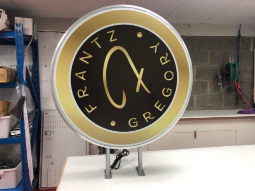 Double Sided LED PROJECTION LIGHT BOX ILLUMINATED SHOP SIGN WATERPROOF ROUND
